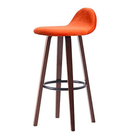 Solid Wood Barstool Upholstered With Iron Ring Footrest Wooden 4 Legs Breakfast Kitchen Bar Stools Pub Hig Cafe Bar Stools Wood Bar Stools Bar Stools