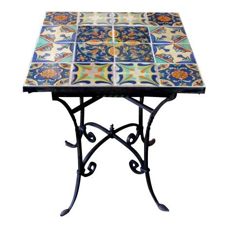 1920s Spanish Wrought Iron Tile Top Table Tile Top Tables Table