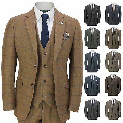 Wool Blend Brown Ckeck Tweed Men Wedding Suit Blazer Retro Tailor Tuxedos Custom