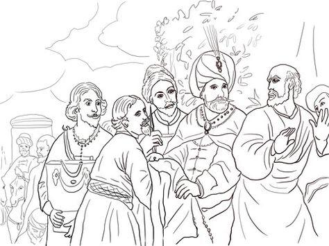 Elisha Refusing Gifts From Naaman Coloring Page Bible Coloring