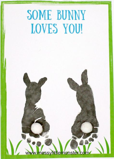 Some bunny loves you! Make a footprint bunny craft with your baby or toddler using our free printable keepsake card. Great for Mother's Day, Father's Day, Valentine's day or Easter. crafts for toddlers Footprint Bunny Craft - FREE printable keepsake card Easter Crafts For Toddlers, Spring Crafts For Kids, Crafts With Babies, Baby Crafts To Make, Baby Feet Crafts, Toddler Arts And Crafts, Easter Arts And Crafts, Summer Crafts, Daycare Crafts