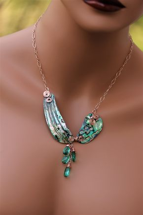 21/'/' 2 Strands Agate Necklace Abalone Shell Pendant