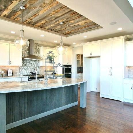 Rustic Wood Ceilings Rustic Wood Ceilings Loving This Tray Ceiling Reclaimed Weathered Wood By Wall Kitchen Ceiling Design Kitchen Ceiling House Ceiling Design
