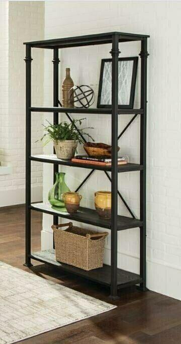 801439 Deponte Ii Dark Grey Finish Wood And Black Metal Frame Shelf Unit 4 Shelf Bookcase Shelves Metal Bookcase