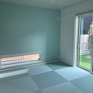 ブルー和室 水色和室 吹き抜け Francfranc アクセントクロス ブルー