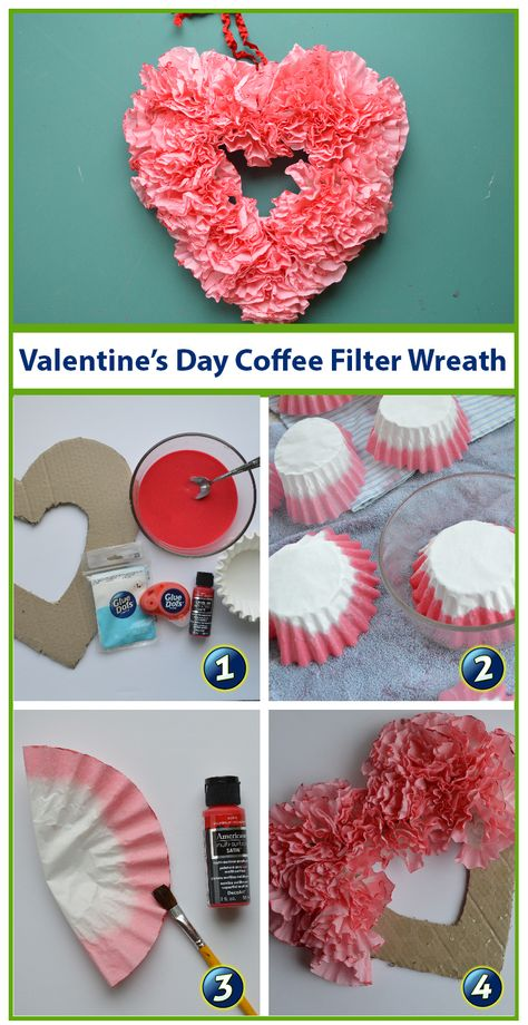 Brighten up your February decor with this simple, yet stunning heart wreath. No … Brighten up your February decor with this simple, yet stunning heart wreath. No one will suspect it is made from coffee filters and a card board box! Coffee Filter Wreath, Coffee Filter Crafts, Coffee Filter Flowers, Coffee Filters, Valentine Day Wreaths, Valentines Day Decorations, Valentine Day Crafts, Holiday Crafts, Wreath Crafts