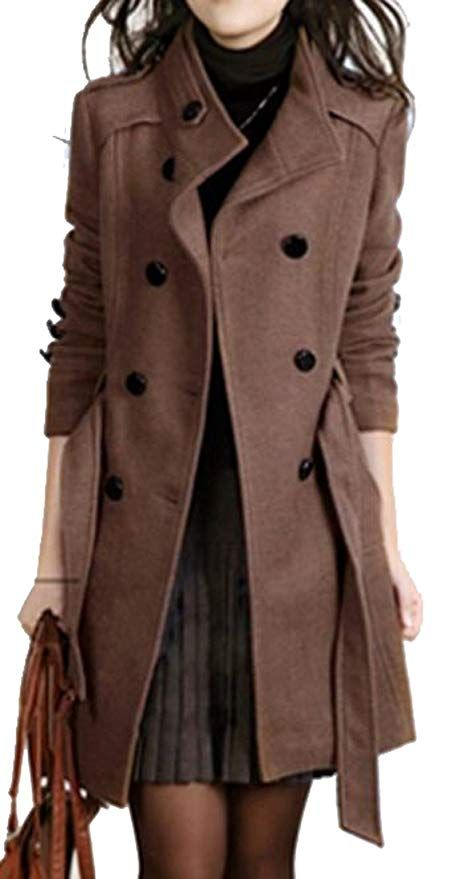 Womens Ladies Wool Blend Pea Coat Outwear Hip Length Jacket Double Breasted US
