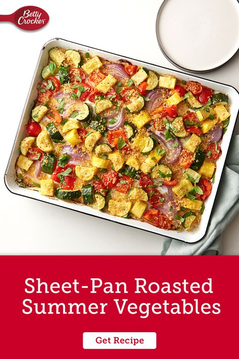 Our Sheet-Pan Roasted Summer Vegetables is an easy complement to any meal. Pin today for a crowdpleasing side dish.