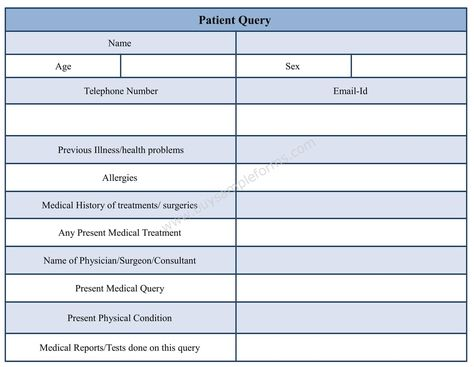 Download this Patient query form template to customize it as per - medical incident report form