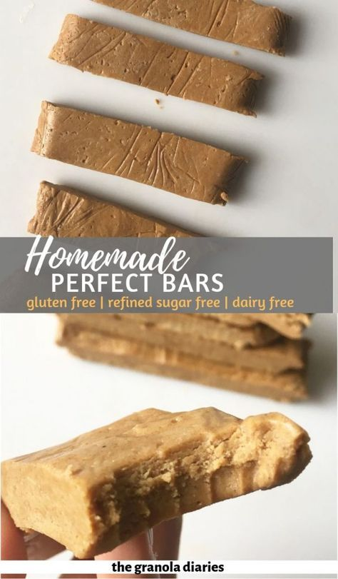 Copycat Homemade Perfect Bars - The Granola Diaries - Homemade Perfect Bars – Peanut butter flavor! A healthy homemade protein bar that is gluten free - Sugar Free Protein Bars, Healthy Protein Bars, Peanut Butter Protein Bars, Protein Bar Recipes, Protein Powder Recipes, Homemade Peanut Butter, Healthy Desserts, Gourmet Recipes, Dessert Recipes