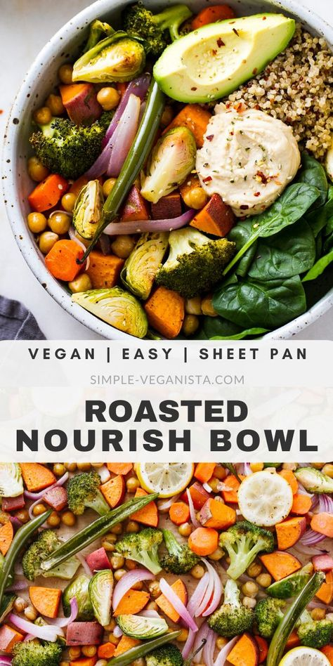 Keep warm and nourished with nutrient dense Roasted Nourish Bowls recipe featuring sweet potatoes brussels sprouts chickpeas fresh spinach quinoa and avocado! It's easy to make and ready in under 1 hour. Plant Based Recipes, Veggie Recipes, Whole Food Recipes, Vegetarian Recipes, Cooking Recipes, Healthy Recipes, Easy Veggie Meals, Veggie Bowl Recipe, Veggie Quinoa Bowl