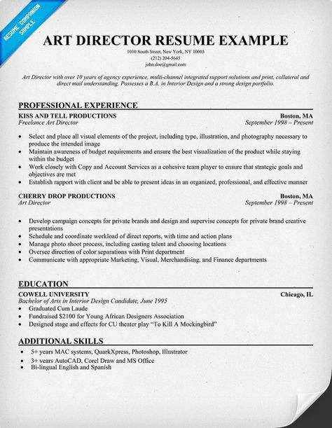 Resume Exmaple for an Art #Director (resumecompanion) Robert - creative director resume
