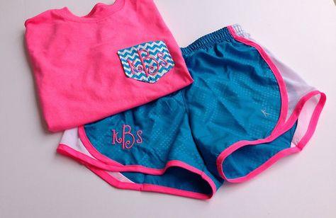Athletic monogrammed shirt and shorts.