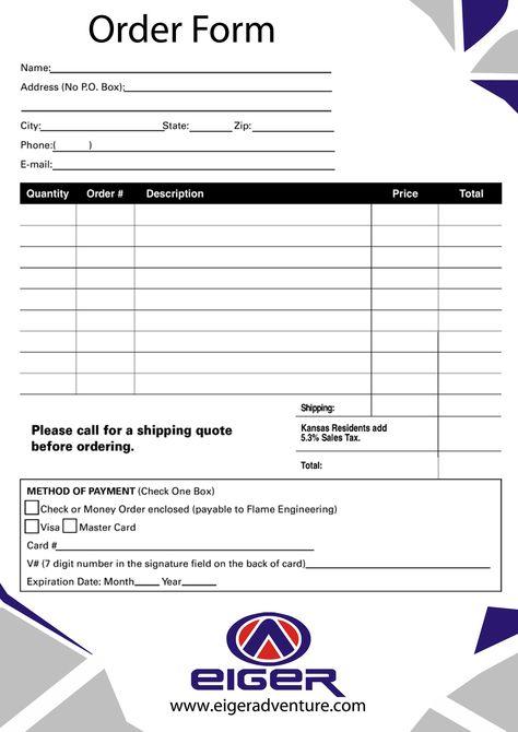 Order Form EIGER Pinterest Order form - money order form