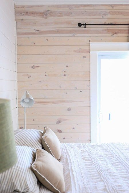 White Washed Horizontal Planked Pine Wall 1 White Wash Walls Washed Pine Walls Pine Bedroom Furniture