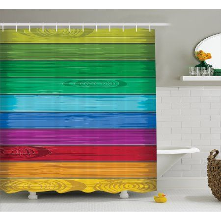 Rainbow Decor Shower Curtain Abstract Art Style Colorful Wooden