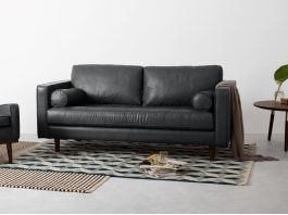 Scott Breites 2 Sitzer Sofa Premium Leder In Oxfordgrau Sofa Design Sofa 2 Sitzer Sofa