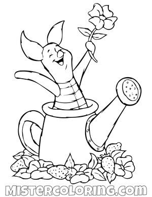 Piggy In A Watering Can Winnie The Pooh Coloring Page Coloring