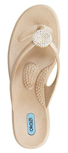841f8da9886ad Oka b Womens Lucky Crystal Flip Flop Sandals Aged Gold S     Be sure to  check out this awesome product.