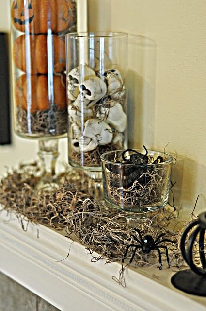 Love this mantle...have to find straight vases and convince my husband I need a few more decor glass pieces! LOL