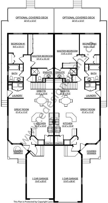 Duplex Plan 2008702 Bungalow Side By Side Duplex 2 Bedrooms Open Floor Plan With Single Car Garage Garage House Plans Duplex House Plans Duplex Plans