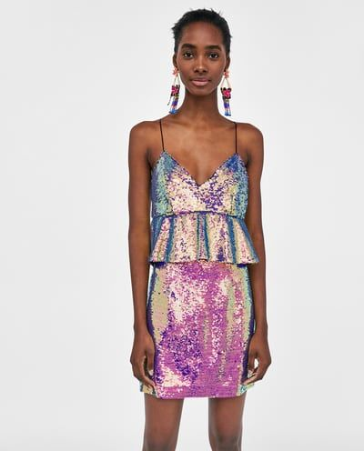 Image 6 Of Multicoloured Sequin Dress From Zara Vestido Lentejuelas Lentejuelas Ropa