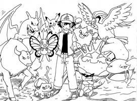 Ash Kanto Team By Rohanite Pokemon Coloring Pages Pokemon