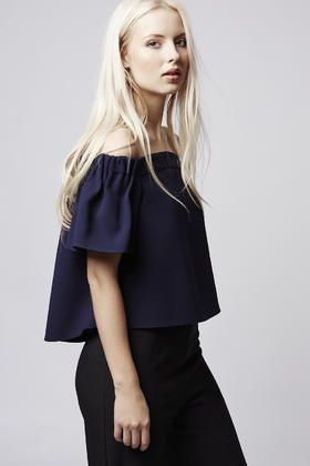 76abe5ae6d7e6 RRP-42-BNWT-TOPSHOP-Blue-Structured-Bardot-Off-Shoulder-Top-UK8 ...