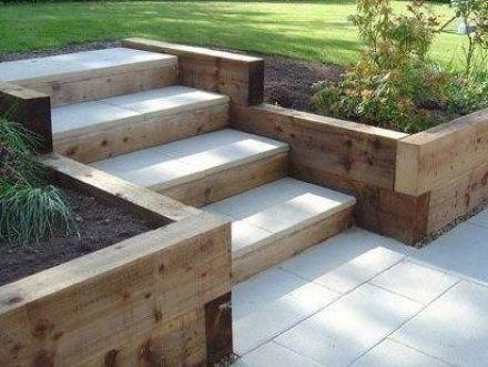Garden Steps Using Railway Sleepers In 2020 Landscaping Retaining Walls Sloped Garden Diy Garden Projects