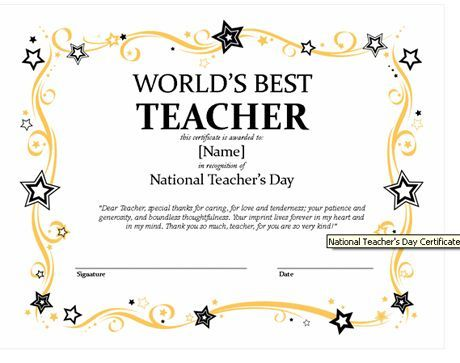 Quality Best Teacher Certificate Templates Free In 2021 Teacher Awards Teacher Certification Printable Certificates