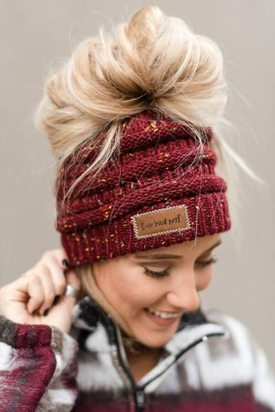 MADE TO ORDER Messy Bun Beanie for Women Ponytail Hat Messy Bun Hat Women/'s Winter Accessory