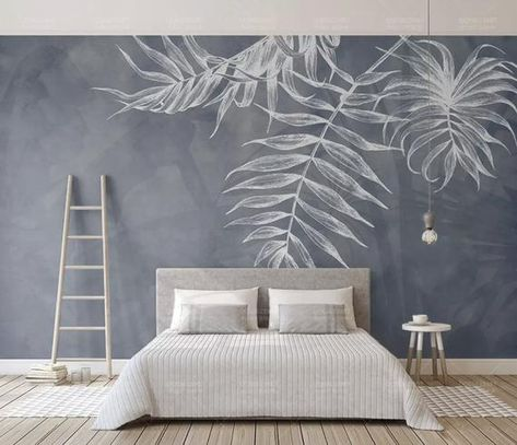 """Leaf Wallpaper Tropical Wall Murals Monochrome Wall Decor Palm Tree Leaves Wall Art Tropic Home Design Natural Cafe Decor Living Room Bedroom This fabric-textile and removable wallpaper is very suitable for Living Room, Bedroom, Hallway Themes : Leaves [WALLPAPER SIZE] ► 37""""W × 23""""H inches"""