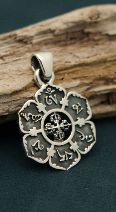 Om Mani Padme Hum Lotus Pendant Sterling Silver Galaxy Jewelry