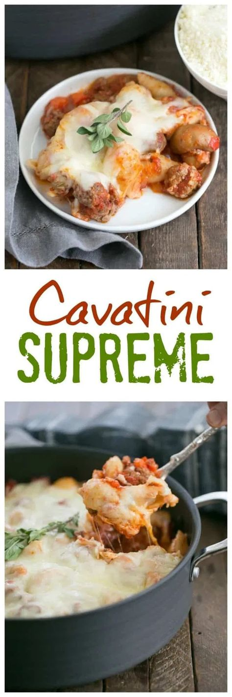 Cavatini Supreme is a pasta casserole with ground beef, pepperoni, red sauce and loads of gooey mozzarella cheese. This comfort food pasta recipe is easy to make and it freezes well, so make a big batch! #Italianrecipes #pasta #casserole #freezerfriendly #comfortfood