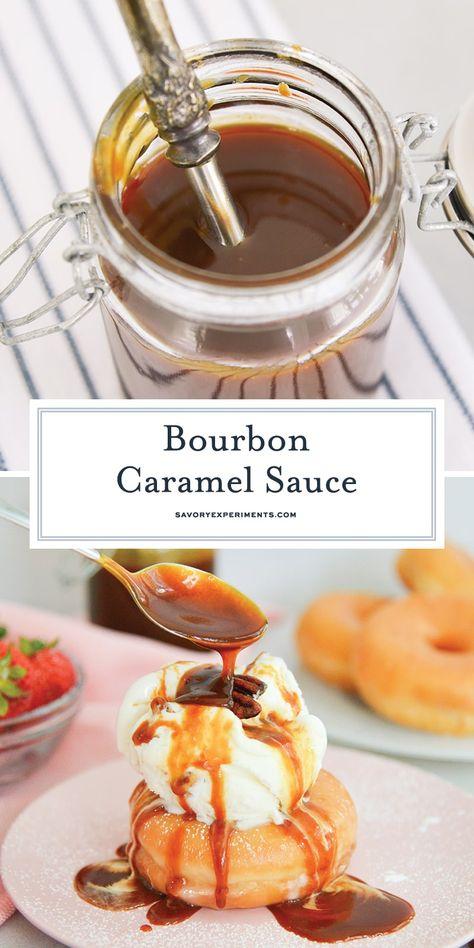 How do you make caramel even better? Add bourbon! This homemade Bourbon Caramel Sauce will take any dessert to the next level! #ad #summerdessertweek
