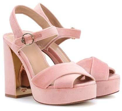 e253d898dc3 Tory Burch Loretta velvet plateau sandals #sandals #foot_ware ...