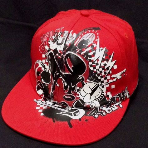 53d04565920 Disney Mickey Mouse Turn Up Rock Star Music Ball Graphic Cap Red Adult One  Size