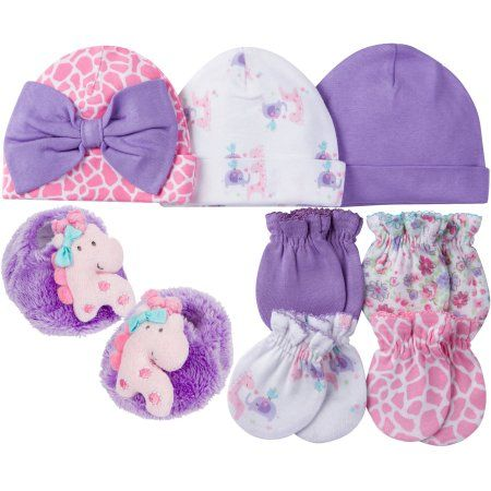 67d0c3742 Newborn Baby Girl Caps, Mittens and Booties Accessory Set, 8-Piece ...