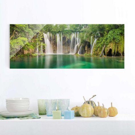 Bilderwelten Glasbild Panorama Quer Wasserfall Plitvicer Seen
