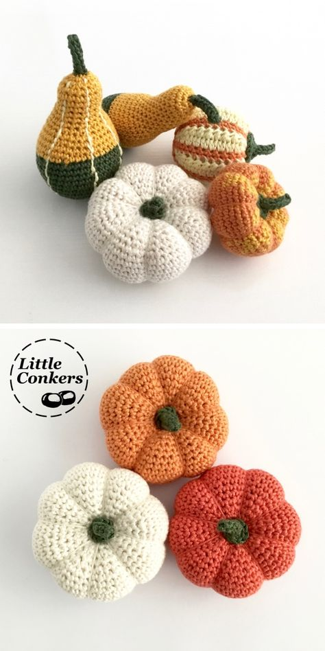 Handmade miniature pumpkins and gourds. Gorgeous natural decorations for autumn, hand-crocheted in the UK from sustainable fibres. with ornamental gourds Crochet Pumpkin Pattern, Halloween Crochet Patterns, Crochet Patterns Amigurumi, Knitting Patterns, Scarf Patterns, Thanksgiving Crochet, Holiday Crochet, Crochet Fall Decor, Autumn Crochet