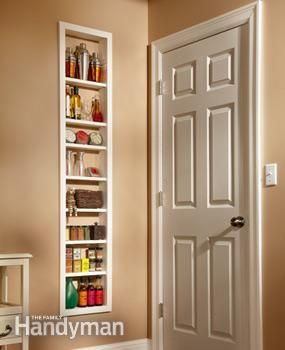 Use this project for built-in shelves to unlock hidden storage space between the studs in your walls. Install a single, open box of shelves, or install two boxes and add a set of glass doors.