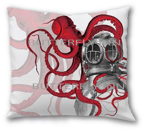 Red Octopus Diver Helmut Pillow Red