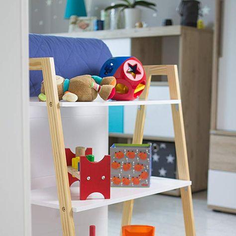 Kledio Kinder Holzregal in weiß Kinderregal aus Holz mit