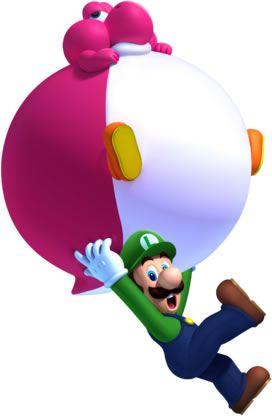 Luigi With Balloon Baby Yoshi From The Official Artwork Set For New Supermariobros U On Wiiu Mario Mariobros Http Www Super Mario Mario Mario And Luigi