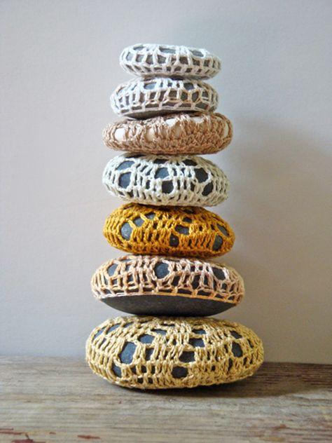 sweet crochet covered rocks