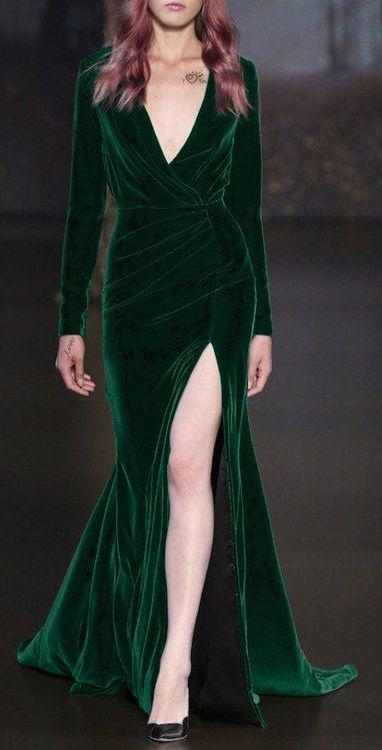 Long Sleeve High Slit Velvet Dress ==