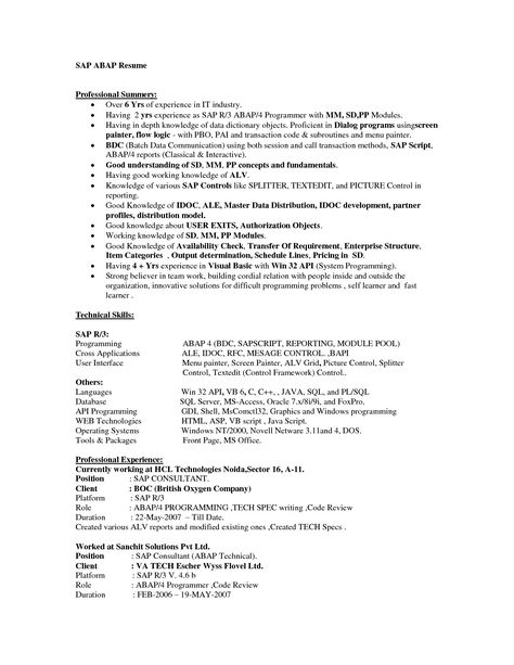 adorable sample sap resume resumes cons dfad new abap admin may - sap fico resume sample