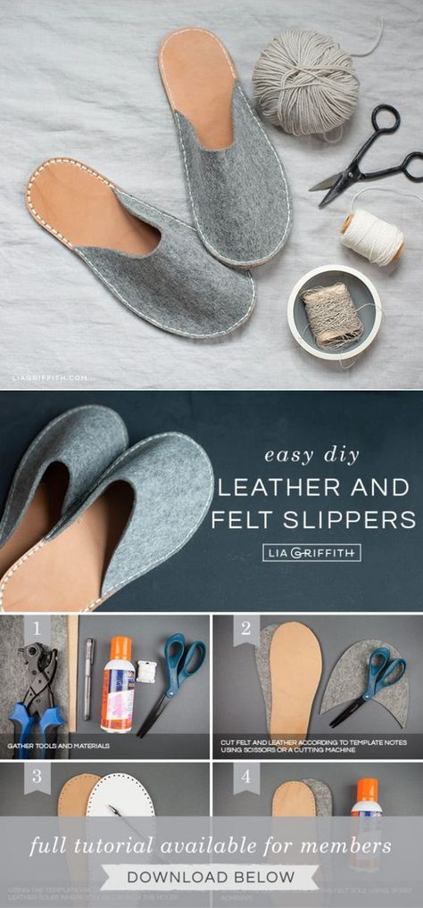 DIY Felt and Leather Slippers Tutorial - Lia Griffith Leather Gifts, Leather Craft, Sewing Slippers, Felted Slippers Pattern, Felt Slippers, Diy Wedding Gifts, How To Make Shoes, How To Make Slippers, Shoe Pattern