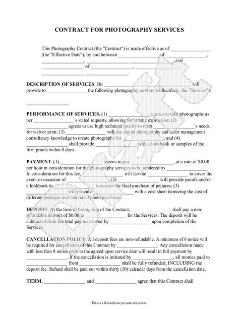 Free Printable Wedding Photography Contract Template Form (GENERIC - performance agreement contract