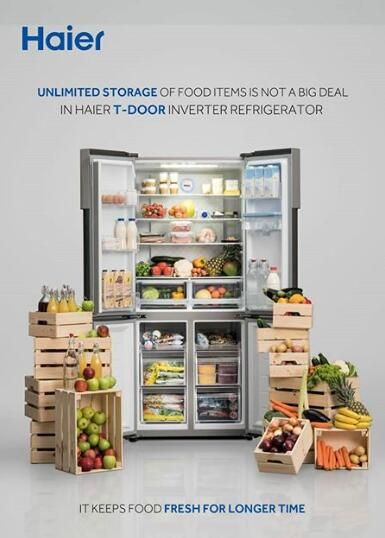 New Haier T Door Inverter Refrigerator With Big Space In 2020 Refrigerator Haier Refrigerators Storage Spaces
